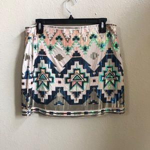 Express sequin tribal knit skirt size M